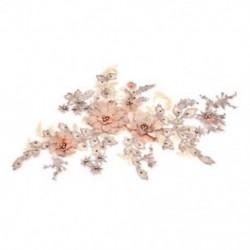 * 1 narancs (350 * 290 mm) 3D-s virág csipke hímzés DIY menyasszonyi esküvő Applyque javítás gyöngyös gyöngy tüll