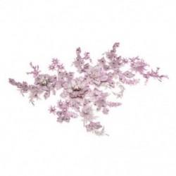 * 1 rózsaszín   ezüst (350 * 290 mm) 3D-s virág csipke hímzés DIY menyasszonyi esküvő Applyque javítás gyöngyös