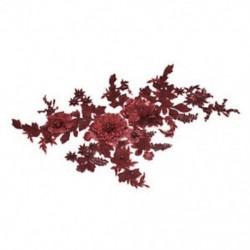 * 1 bor piros (350 * 290 mm) Elegáns 3D-s virág menyasszonyi csipke gyöngy gyöngyözött DIY esküvői ruha élénk