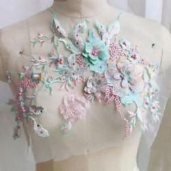 * 2 zöld   rózsaszín (33x28cm) Elegáns 3D-s virág menyasszonyi csipke gyöngy gyöngyözött DIY esküvői ruha élénk