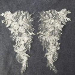 * 3 Fehér (43x23cm) Elegáns 3D-s virág menyasszonyi csipke gyöngy gyöngyözött DIY esküvői ruha élénk hímzés JP