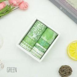 10 tekercs Zöld mintás-színes Washi dekor szalag - dekoratív öntapadós szalag - 3