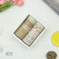 * 4 MUYA 10 Rolls papír Washi szalag dekoratív Scrapbooking ragasztó matrica kézműves ajándék