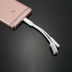 * Ezüst Forró C-től 3,5 mm-ig terjedő és 2-es töltőfejű fejhallgató audio-jack USB C kábeladapter