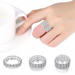 1/2/3/4 soros ezüst színű kristály strasszos rugalmas bizsu gyűrű női divatos ékszer ajándék