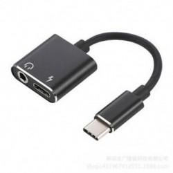 Fekete USB-C-tól 3,5 mm-ig és töltő 2 in1 fejhallgató audio jack töltőkábel adapter