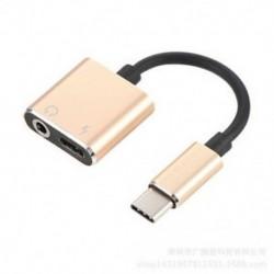 Arany 2 in1 USB C típusú, 3,5 mm-es fejhallgató-csatlakozó adapter AUX &amp  Sync dátum töltőkábel