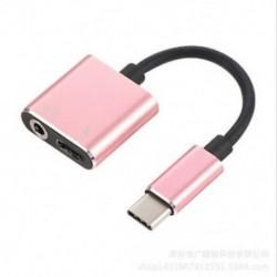 Rózsa arany 2 in1 USB C típusú, 3,5 mm-es fejhallgató-csatlakozó adapter AUX &amp  Sync dátum töltőkábel