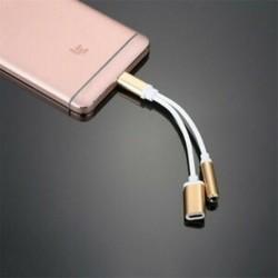 * 2 Arany 2 in1 USB C típusú, 3,5 mm-es fejhallgató-csatlakozó adapter AUX &amp  Sync dátum töltőkábel
