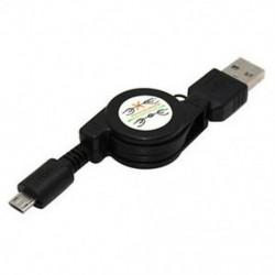 Fekete Univerzális Micro USB A USB 2.0 B-hez visszahúzható adatszinkronizáló töltőkábel kábel