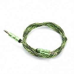 Zöld 3,5 mm-es audio AUX TRS jack kábel Nylon hímzett csatlakozó sztereó autós telefonhoz 1M