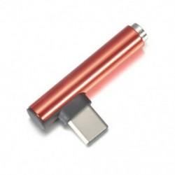 Piros Új C-típusú 3,5 mm-es Jack fülhallgató kábel USB C fejhallgató Audio 90 ° -os adapter