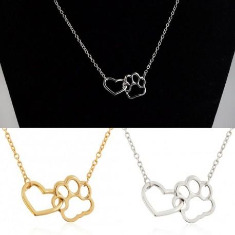 7624f6acb4 1x szív mancs kisállat kutya cica lábnyom mintás választható színű lánc  nyaklánc ékszer bizsu