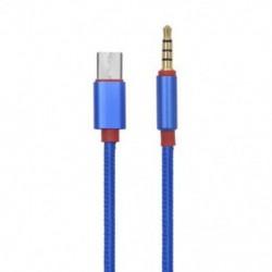 Kék C-típusú alumínium-3,5 mm-es audio Aux kábel, 3,5 mm-es hím USB-C-hez 3,5 mm-es sztereó