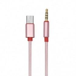 Rózsa arany C-típusú alumínium-3,5 mm-es audio Aux kábel, 3,5 mm-es hím USB-C-hez 3,5 mm-es sztereó