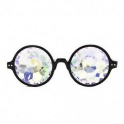 Fekete Kaleidoszkóp szemüveg Unisex szemüvegek Crystal Lens Party Rave EDM napszemüveg Hot