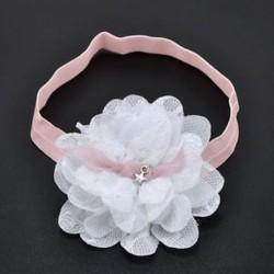 fehér Aranyos baba gyerek lány kisgyermek csipke virág fejpánt haj zenekar fejfedő kiegészítők