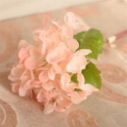 Világos rózsaszín Mesterséges hortenzia selyemvirágok levélszár esküvői menyasszonyi party lakberendezés Új