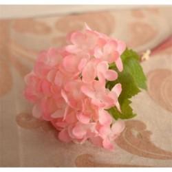 Rózsaszín Mesterséges hortenzia selyemvirágok levélszár esküvői menyasszonyi party lakberendezés Új