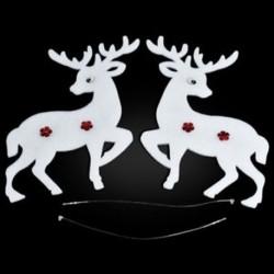 Jávorszarvas 9PCS karácsonyi fehér jávorszarvas Bell szarvas díszek Xmas fa függő fél dekoráció