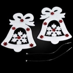 Karácsonyi harang 9PCS karácsonyi fehér jávorszarvas Bell szarvas díszek Xmas fa függő fél dekoráció