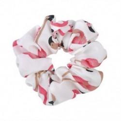 fehér Női haj kötél gyűrű nyakkendő Scrunchie lófarok tartó Flamingos rugalmas haj zenekar