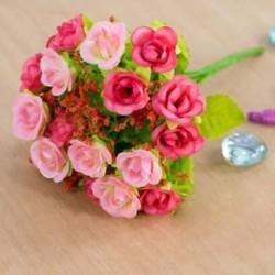 * 7 PINK Mesterséges virág csokor selyem rózsa virág otthon menyasszonyi esküvői party dekoráció