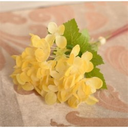 Sárga Mesterséges hortenzia csokor selyem virágok levél esküvői menyasszonyi party lakberendezés