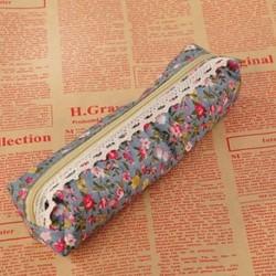 Égszínkék Retro virág virág csipke ceruza toll eset lány divat smink táska tartó