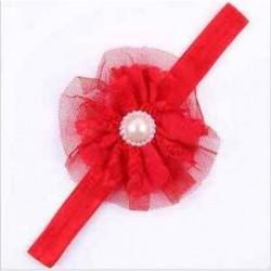 Piros Aranyos baba gyerekek lányok kisgyermek gyöngy virág csipke fejpánt haj íj zenekar tartozék
