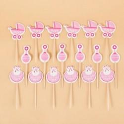 Rózsaszín 18Pcs / Set Baby Shower Cupcake toppers Boy Girl kedvez a Party Birthday Cake Card-nak