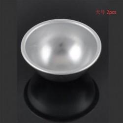 6,5 cm 2PCS 3D alumínium gömb fürdő bomba torta pan sütés zselés tészta labda penész eszköz