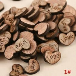 100db 15x12x3mm-es Szív alakú fa dísz - LOVE gravítozással - Ünnepi dísz - Karácsonyi dekoráció - 1