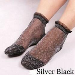 Ezüst fekete Ultrathin átlátszó kristály selyem csipke rugalmas színes csillogó rövid zokni Hot