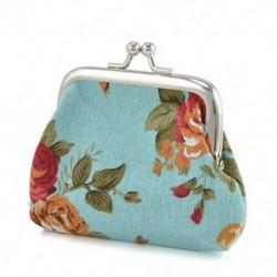 Kék Vintage női pénztárca virág kis érme erszényes hasp vászon kuplung kis pénztárca táska