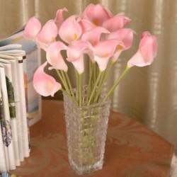 Rózsaszín Mesterséges calla liliom hamis selyem virágok csokor fej esküvői lakberendezés JP