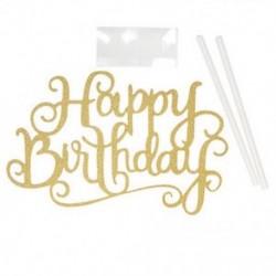 Happy Birthday - Arany színű akril tortadísz szülinapra