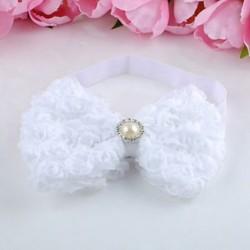 fehér Baba lányok gyerekek csipke rózsa virág íj fejpánt hairband fejpánt tartozékok