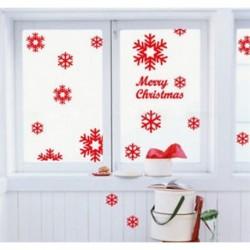 13Pcs vörös hópehely (5-8 cm) Kivehető hópehely harangok fal matrica vinil matrica vidám karácsonyi ablak dekoráció