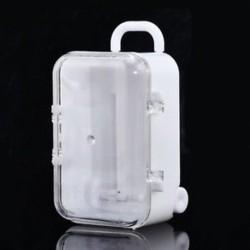 fehér Mini gördülő utazási bőrönd Candy doboz esküvői fél kedvez a fogadás baba játék
