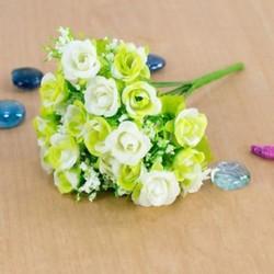 fehér 21 Fej Mesterséges műanyag rózsa selyem virág esküvői csokor Otthoni irodai dekorok