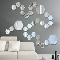* 15 Hexagon Silver (12db) Kivehető tükör matrica Art Mural fal matricák lakberendezés DIY szoba dekoráció