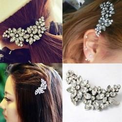 Női menyasszonyi esküvői party virág kristály strasszos fejpánt haj klip fésű