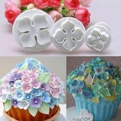3db-os szett - Hortenzia virág alakú sütemény formázó - kiszúró forma