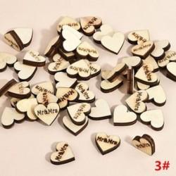 * 3 Mr &amp  Mrs 100db romantikus rusztikus fa szerelem szív esküvői asztal szétdíszítés dekoráció kézműves