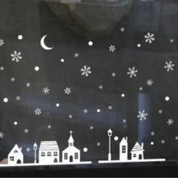 1PC Snow House (25 * 35CM) Vidám karácsony fali művészet eltávolítható otthoni vinil ablak fal matricák matrica
