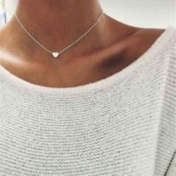 Ezüst Nők szeretik a szív medál arany ezüst choker Chunky lánc Bib nyaklánc ékszer