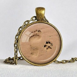 Bronz Vintage szerelem ékszer kutya mancs nyomtatási lábnyom Charm medál ezüst lánc nyaklánc