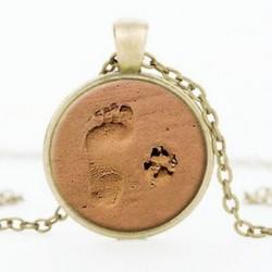 Ezüst Vintage szerelem ékszer kutya mancs nyomtatási lábnyom Charm medál ezüst lánc nyaklánc
