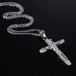 * 17 Ezüst Unisex divat 925 ezüst rozsdamentes acél kereszt medál lánc nyaklánc ékszer